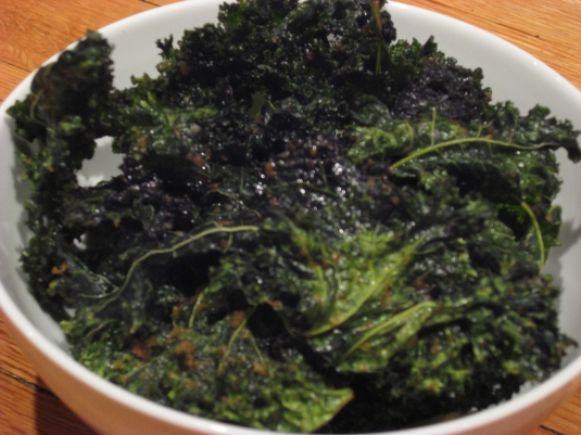 bowl of kale chips