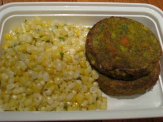 Cormeal-Crusted Veggie Burgers and Corn Salsa