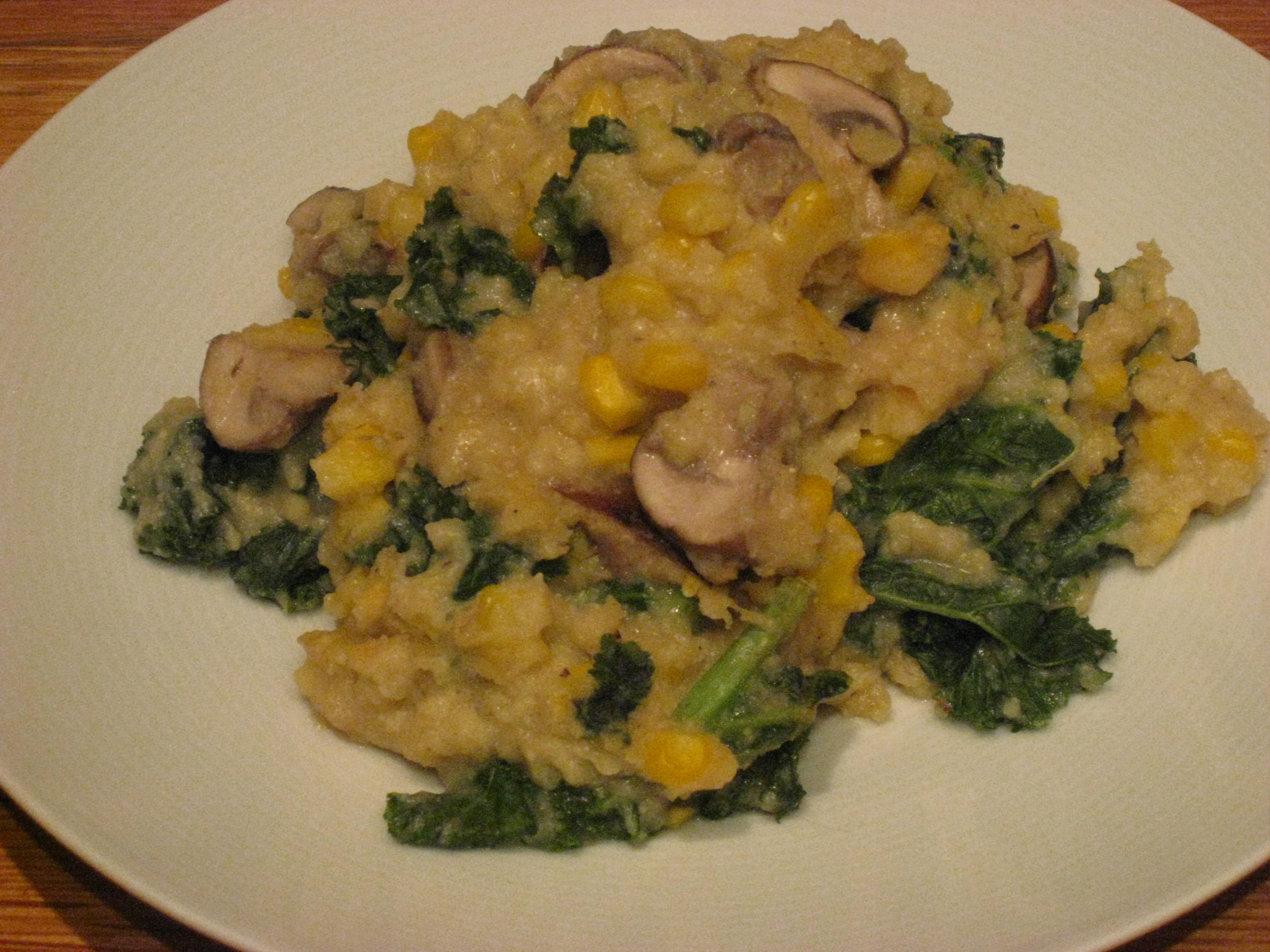 Kale And Mushrooms With Creamy Polenta Recipe — Dishmaps